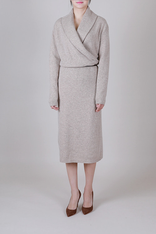cashmere15 wool85] 숄카라 랩원피스 -3color