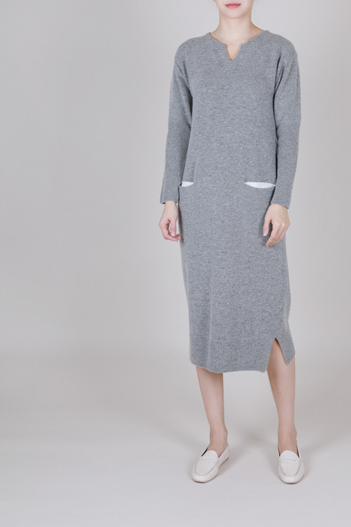 wool85 cashmere15] 배색 포켓 원피스 -2color