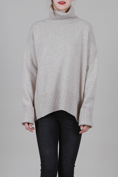 cashmere30 wool70] 루즈핏 터틀니트 -3color