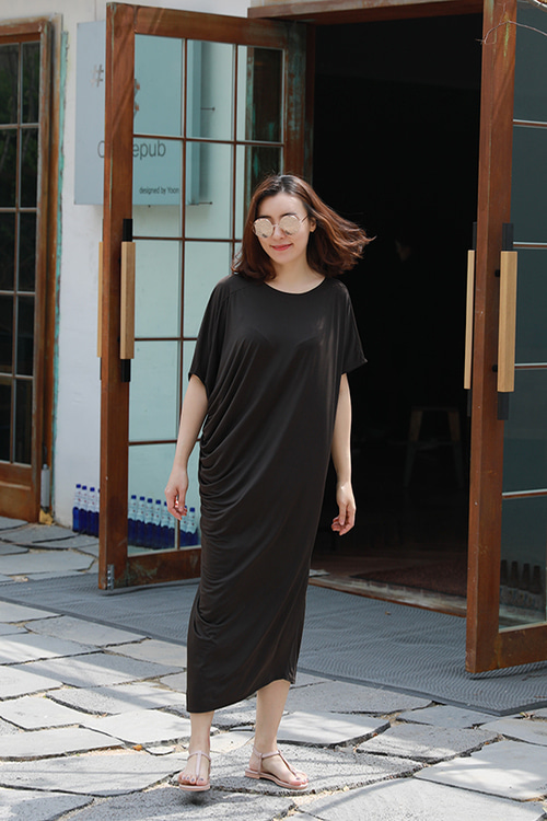 by emile] so cool drape dress [beige.brown.black] 리오더중